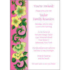 Invitation Card For Reunion Party 25 Personalized Family Reunion Invitations Frf 03 Pink Floral Ebay