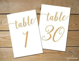 bella script gold printable table numbers 1 30 add a romantic