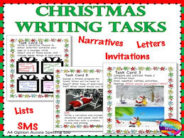 christmas writing activities literacy centre task cards individual