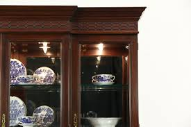 henkel harris signed mahogany breakfront china cabinet beveled