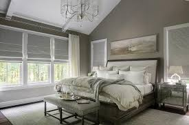 Grey Sleigh Bed Taupe And Gray Bedroom With Mirrored Nightstands Transitional
