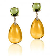 citrine earrings peridot cabochon and citrine drop earrings goshwara