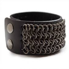 bracelet cuff leather images Chainmail leather bracelet laticci jpg