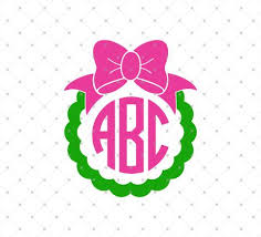bow monogram svg cut files for cricut and silhouette bow monogram frame files