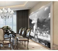 classic black white photo wallpaper paris eiffel tower designer