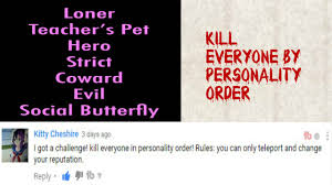Can Challenge Kill You Kill Everyone By Personality Order Challenge Yandere Simulator