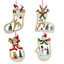 set of four wooden tree decorations co uk