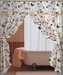 Double Swag Shower Curtain With Valance Amazon Com Butterfly Floral Double Swag With Valance Tie Backs