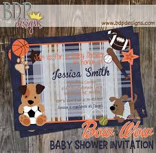 baby shower sports invitations bow wow buddies sports baby shower invitation customized