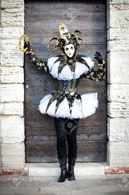 venetian jester costume woman as a jester in venice italy at carnival in february stock