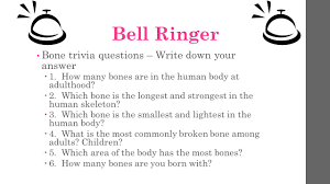 bell ringer bone trivia questions u2013 write down your answer 1