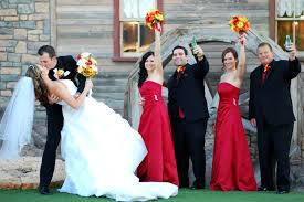 red yellow orange and white wedding colors red floor length
