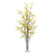 Silk Flower Depot - nearly natural 45 in h yellow forsythia with vase silk flower