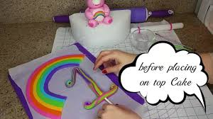 how to make a nummber fondant rainbow cake topper