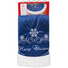 time blue and white merry snowflake tree skirt