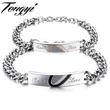 link bracelet with heart images Romantic half heart couple id bracelet 316l stainless steel jpg