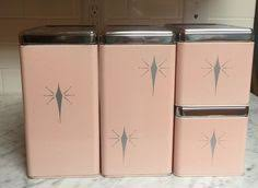 1950 u0027s pink gold rooster canister set u0026 by playfullyvintage