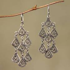 silver chandelier earrings sterling silver chandelier earrings bali novica