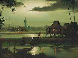 Moonlight Landscape Lighting by Filipino Art Tropical Moonlight Landscape Painting Dated 1968