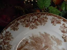antique thanksgiving plate copeland spode ruins brown tr
