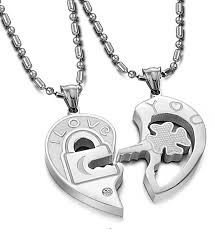 key necklace set images Carrie style cheap price heart and key necklace set for couples jpg