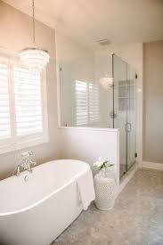 White Bathroom Ideas Individual White Tub With Glamourous Light Fixture And Shower With