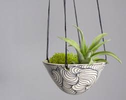 White Hanging Planter by Hanging Air Plant Etsy