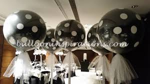 black and white themed balloon decorations