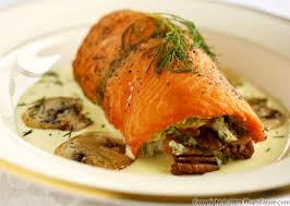 cuisine hollandaise spinach and pecan stuffed salmon fillet with hollandaise sauce