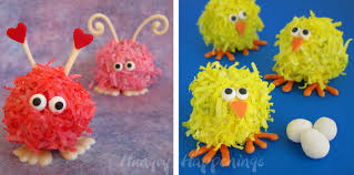 fuzzy easter coconut cake balls hungry happenings easter recipe