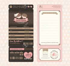 Boarding Pass Wedding Invitation Card Cute Groom And Bride Vintage Boarding Pass Ticket Wedding