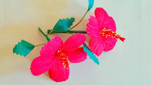 hibiscus paper flower from crepe paper easy home decoration