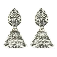 artificial earrings style silver antique big size jhumka jhumki