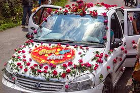 indian wedding car decoration car decorated with flowers indian wedding