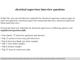 Electrical Supervisor Resume Sample by Electrical Supervisor Interview Questions