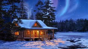 Winter Houses Houses Nothern Lights Magical Night Northern Lights Winter Cabin
