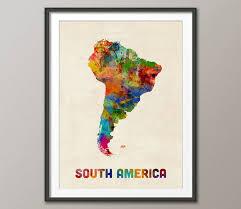 south america map buy south america watercolor map print 2307 watercolor map