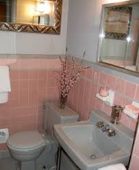 1950s Home Decor by Pink Tile Bathroom Decorating Ideas Pink And Gray Shower Curtain