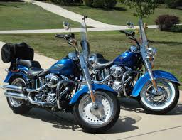 2008 harley fatboy softail motorcycle in pacific blue pearl paint