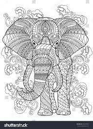 elephant coloring book page stock vector 694418965 shutterstock