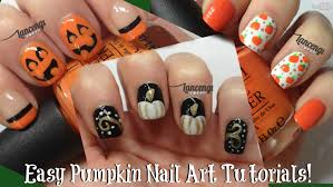 diy easy halloween nails cute pumpkin nail designs 11 youtube