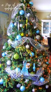 turquoise christmas tree decorations a pop of pretty blog