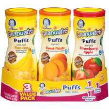 graduates snacks gerber graduates puffs cereal snack naturally flavored with other