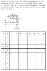 What Is A Truth Table Complete The Truth Table For The Cmos Logic Circui Chegg Com