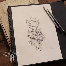 neo traditional scissors and rose sketch the order the order
