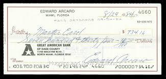 100 eddie arcaro signed personal checks