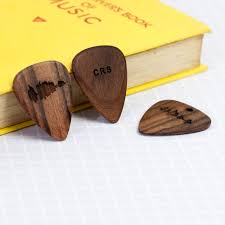 wood gifts for him personalised wooden plectrum engraved voice song sound wave