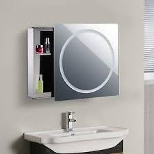 Bathroom Mirror Cabinet With Lights Bathroom Mirror Cabinet With Led Light Sliding Door 2 Compartments
