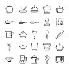 kitchen utensils outline vector icons 2 stock vector art 544599560