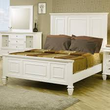 High Headboard Bed Eastern King White Panel Bed